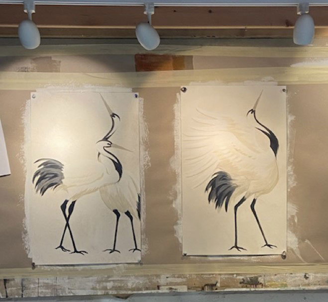 A study of the storks' postures by artist Kelly Walker.