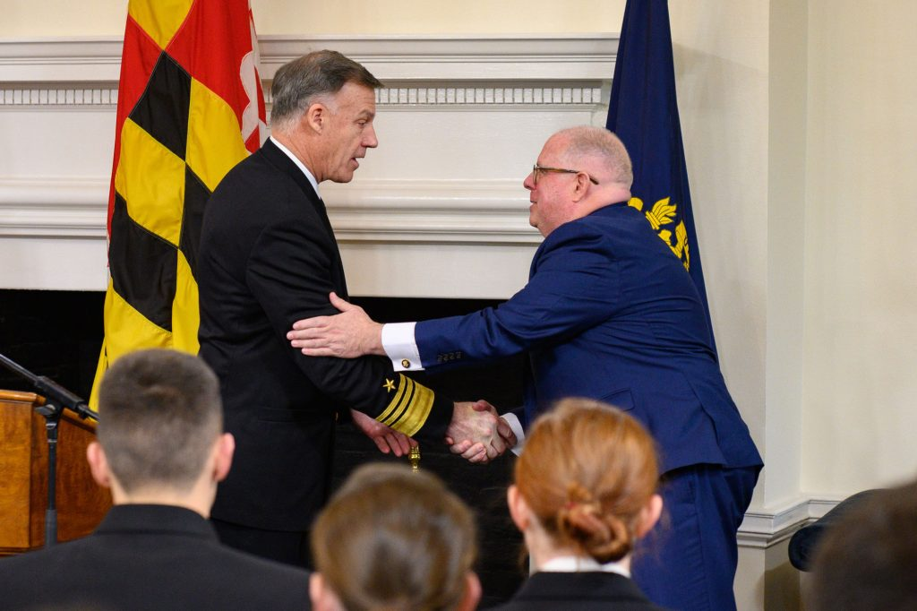 Buck shakes hands with Governor Larry Hogan during a proclamation ceremony launching the Naval Academy's 175th Anniversary. (January 28, 2020)