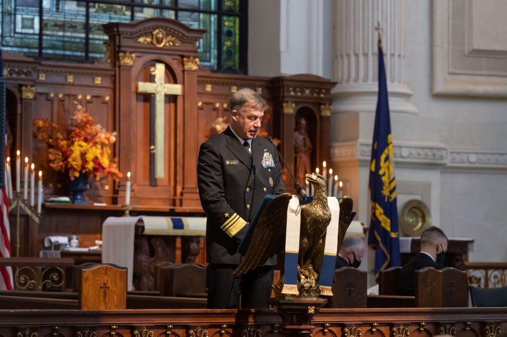 As part of the United States Navy's 245th birthday celebration and observance, Superintendent Vice Adm. Sean S. Buck hosts the Navy Worship Services at U.S. Naval Academy. (October 18, 2020)