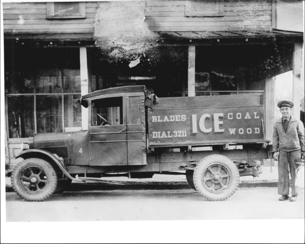 1927-1930 c. Unknown Cecil Blades' ice truck parked in front of Suit's Grocery Store, Eastport. 1927 Dodge 4 cylinder truck. Blades lived at 11 Cathedral Street. Accession No.: MSA SC 2140-1-324 Location: 33/02/02/25